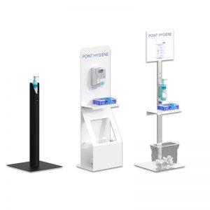 Supports distributeurs de gel hydroalcoolique